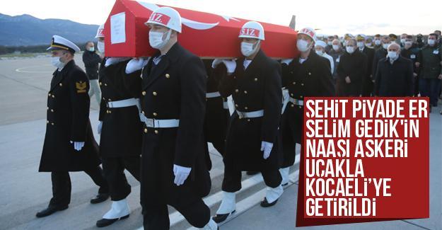 Şehit Selim Gedik'in naaşı Kocaeli'ye getirildi