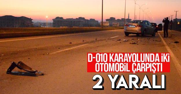D-010'da iki otomobil çarpıştı