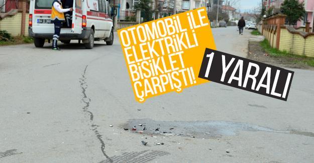 Otomobil ile elektrikli bisiklet çarpıştı! 1 yaralı