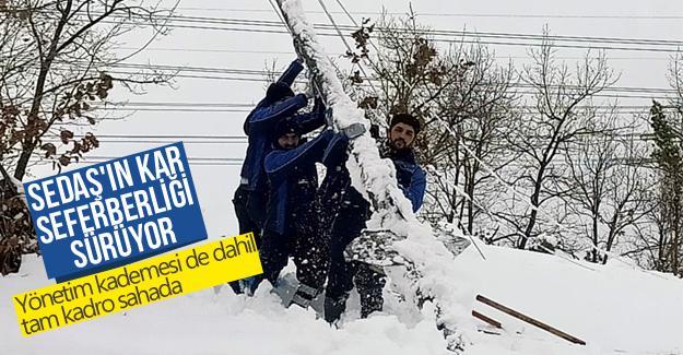 SEDAŞ'ın kar seferberliği sürüyor