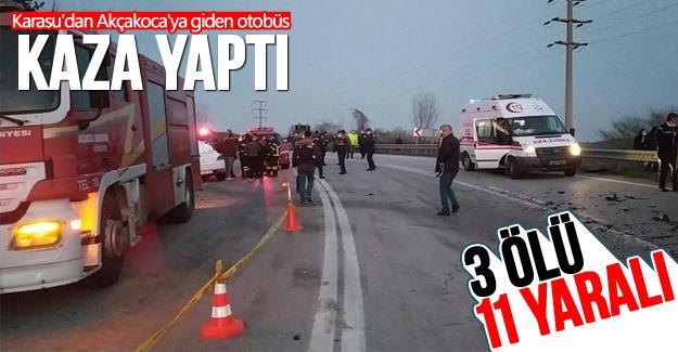 Karasu'dan Akçakoca'ya giden otobüs kaza yaptı