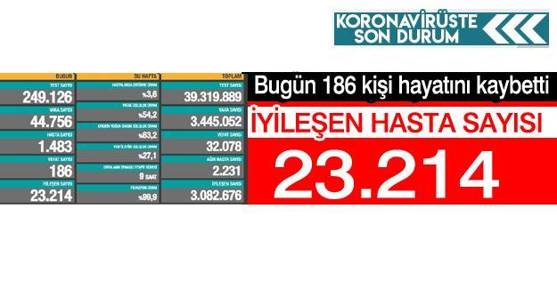 Bugün 186 kişi hayatını kaybetti