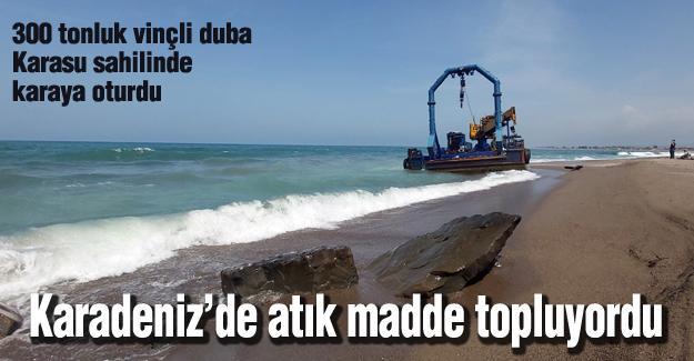 300 tonluk vinçli duba Karasu sahilinde karaya oturdu