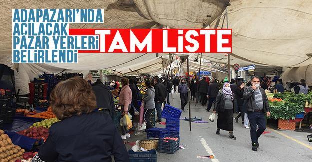 Adapazarı'nda açılacak pazar yerleri belirlendi
