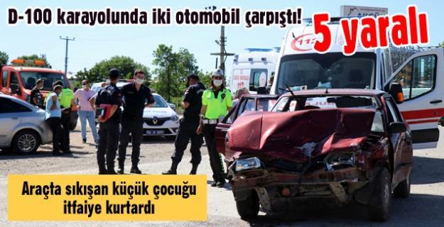 D-100 karayolunda iki otomobil çarpıştı! 5 yaralı