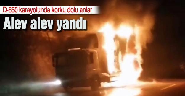 D-650 karayolunda araç yangını! Alev alev yandı