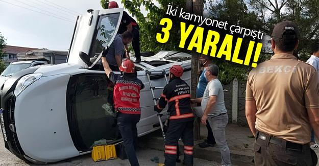 İki kamyonet çarpıştı: 3 yaralı!