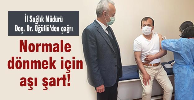 """İl Sağlık Müdürü Doç. Dr. Öğütlü'den çağrı; """"Normale dönmek için aşı şart"""""""