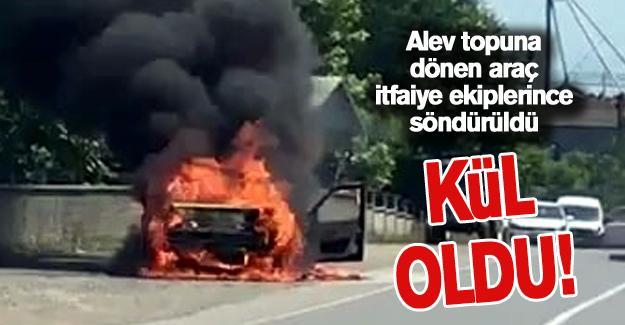 Alev topuna dönen araç tamamen yandı