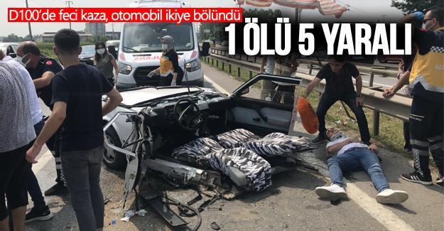 D100'de feci kaza, otomobil ikiye bölündü
