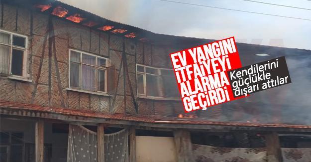 Ev yangını itfaiyeyi alarma geçirdi