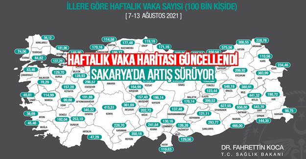 Haftalık insidans haritası güncellendi