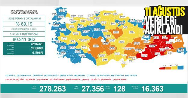 Koronavirüste 11 Ağustos verileri açıklandı