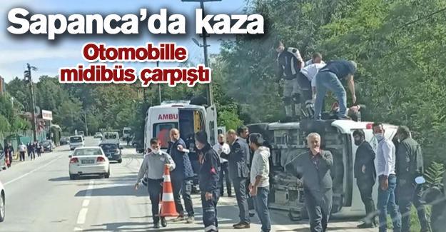Sapanca'da kaza! Kontrolden çıkan midibüs devrildi