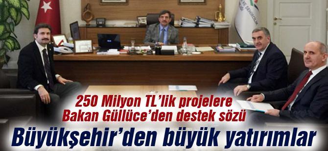 250 Milyon TL'lik projelere Bakan Güllüce'den destek sözü