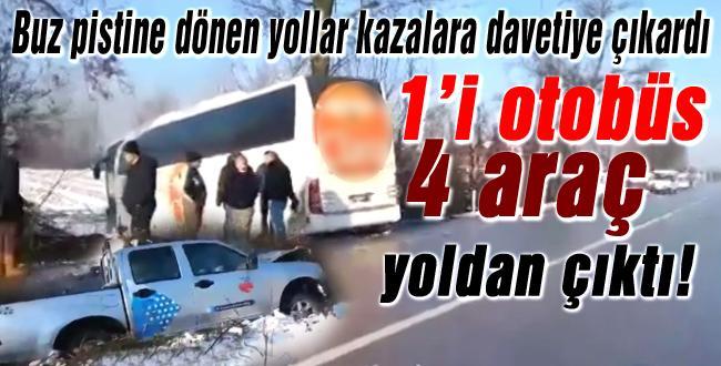 Akyazı'da 4 araç yoldan çıktı!