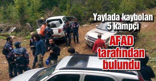 Yaylada kaybolan 5 kişi AFAD tarafından bulundu