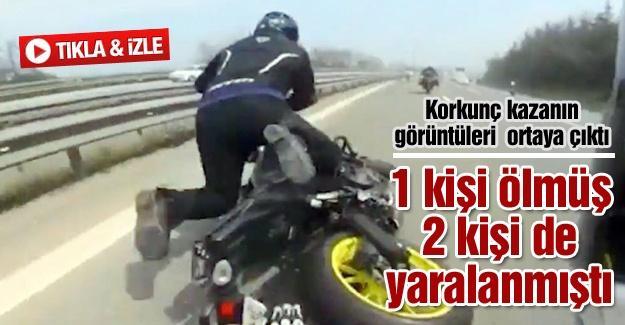 Motosikletli gençlerin TEM'de yaptığı kazanın görüntüleri ortaya çıktı