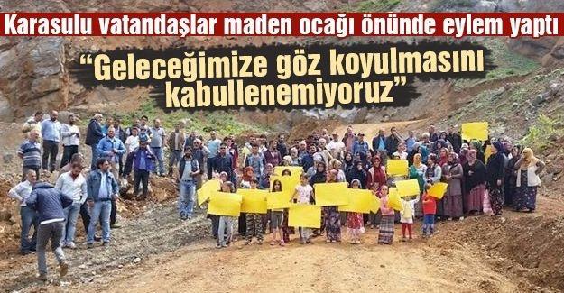 Maden ocağı önünde eylem yaptılar