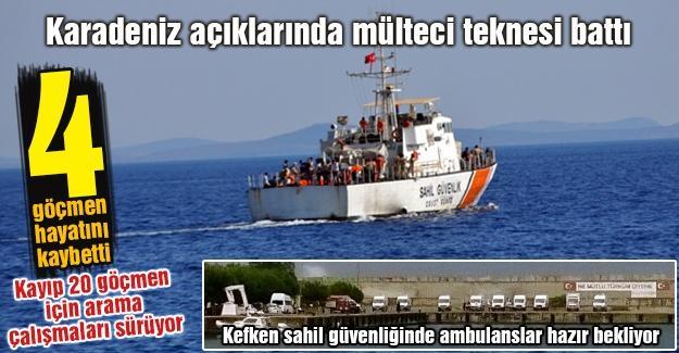 Karadeniz açıklarında mülteci teknesi battı