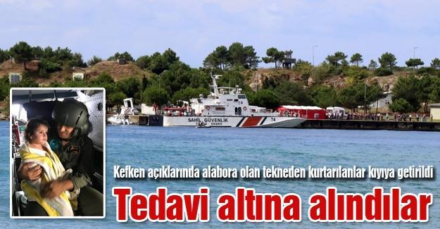 Alabora olan tekneden kurtarılanlar tedavi altına alındı