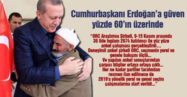 Cumhurbaşkanı Erdoğan'a güven yüzde 60'ın üzerinde
