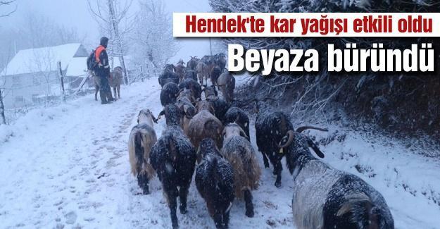 Hendek'te kar yağışı etkili oldu