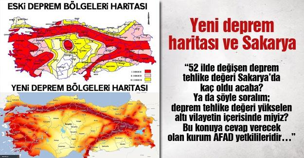 Yeni deprem haritası ve Sakarya