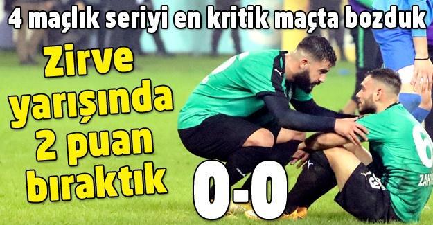 Fırsat teptik! 0-0