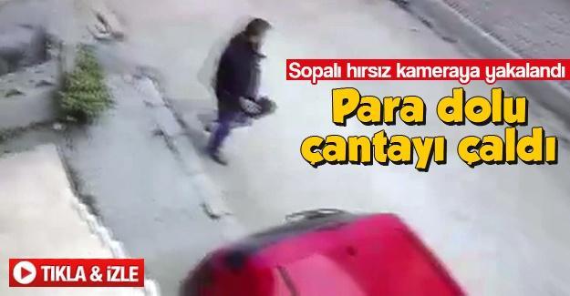 Sopalı hırsız kameraya yakalandı