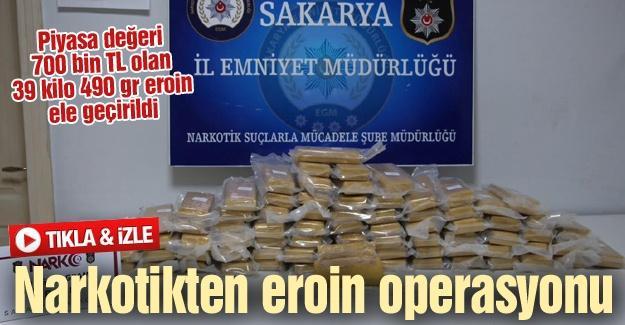 Piyasa değeri 700 bin TL olan 39 kilo 490 gr eroin ele geçirildi