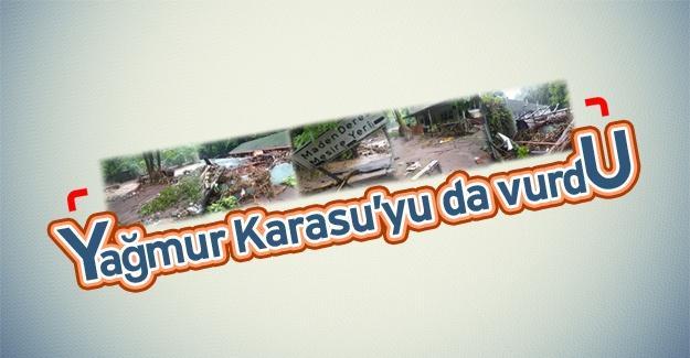 Yağmur Kocaali ve Karasu'da sele neden oldu