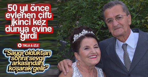 50 yıl önce evlenen çift ikinci kez dünya evine girdi