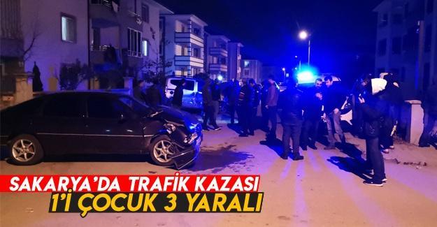 İki otomobil birbirine girdi: 1'i çocuk 3 yaralı