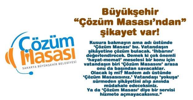 """Büyükşehir """"Çözüm Masası'ndan"""" şikayet var!…"""