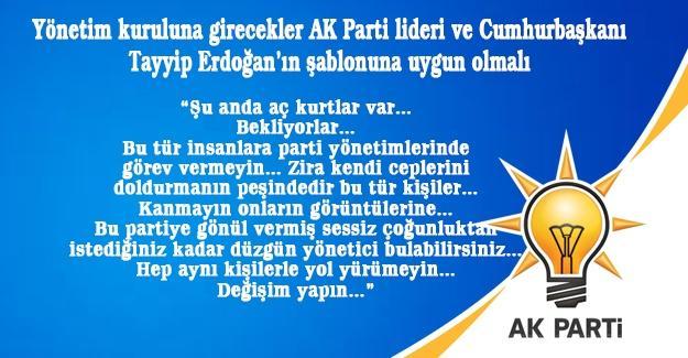 Yönetim kuruluna girecekler AK Parti lideri ve Cumhurbaşkanı Tayyip Erdoğan'ın şablonuna uygun olmalı