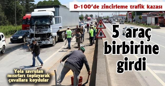 D-100'de zincirleme trafik kazası! 5 araç birbirine girdi