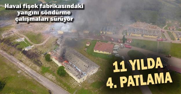 Havai fişek fabrikasındaki yangını söndürme çalışmaları sürüyor