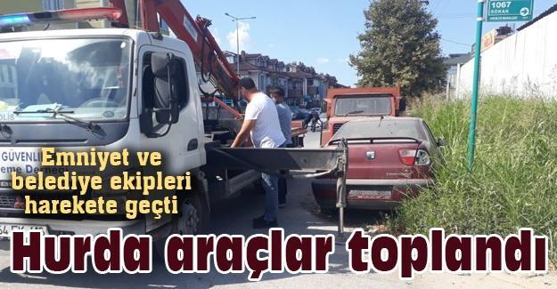 Emniyet ve belediye ekipleri harekete geçti! Hurda araçlar toplandı