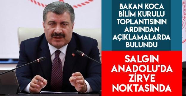 """Bakan Koca: """"Salgın Anadolu'da 2. zirve döneminde"""""""