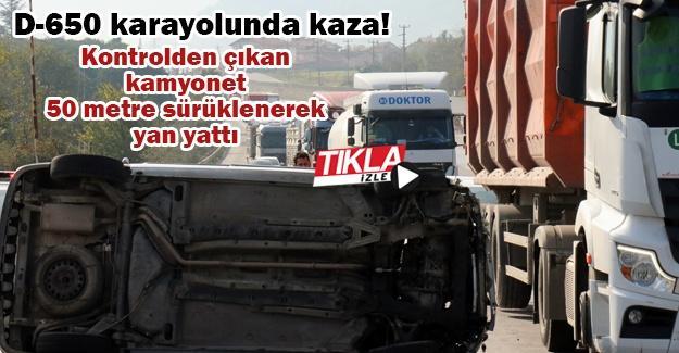 Kontrolden çıkan kamyonet 50 metre sürüklenerek yan yattı!