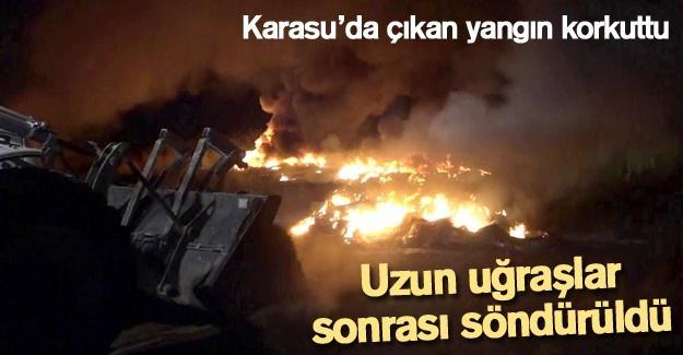 Karasu'da çıkan yangın korkuttu