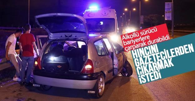 Alkollü sürücü bariyerlere çarparak durabildi