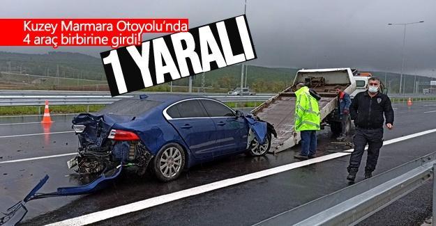 Kuzey Marmara Otoyolu'nda 4 araç birbirine girdi!