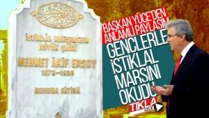 Başkan Yüce gençlerle İstiklal Marşı'nı okudu