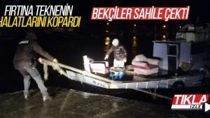 Fırtına teknenin halatlarını kopardı