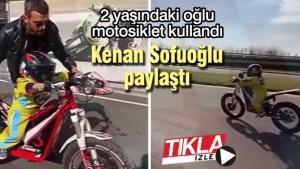 2 yaşındaki oğlu motosiklet kullandı!