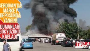 Serdivan'da market deposunda yangın!