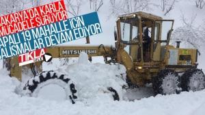 Sakarya'da karla mücadele sürüyor