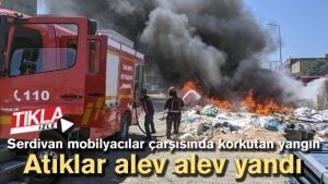 Serdivan mobilyacılar çarşısında korkutan yangın